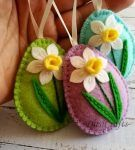 Felt Easter decoration – Lilac Floral Egg This is a great nonedible Easter gift Listing is for 1 ornament Handmade from wool blend and wool felt Ready to ship item Size of my decorated eggs i…