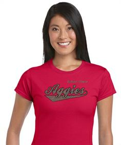 Arbor View Aggies script design in silver and black glitter. You pick the shirt style and color.  #glitter #vinyl http://sparklytees.com/store/arborview