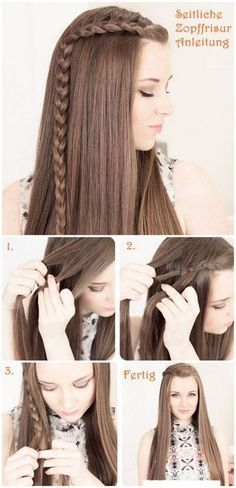 side braid Flechtfrisuren Hair Tutorial would be cute with curls too. Fast easy hair do Pretty Hairstyles, Girl Hairstyles, How To Do Hairstyles, Latest Hairstyles, Elegant Hairstyles, Hairstyles For Winter, Hairstyles With Braids, Simple Braided Hairstyles, Simple Hairstyles For Medium Hair