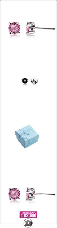 Pendientes Cubic Zirconia rosa 4mm plata de ley 925  ✿ Joyas para mujer - Las mejores ofertas ✿ ▬► Ver oferta: https://comprar.io/goto/B00S9EBUOE
