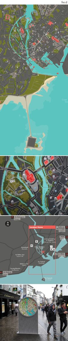 Concept pedestrian wayfinding map designs for Galway City, Ireland by fwdesign