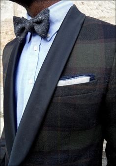 Great tux, love the wool bow tie and the detail on the pocket square. #style