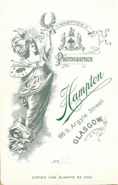 Hampton of Glasgow, Scotland - Studio Back - Cabinet Card