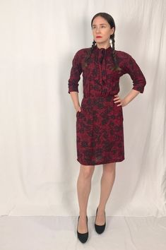 8a3f69d0236 Vintage Red and Black Floral Dress • Vintage Tie Neck Dress • Vintage Nelly  Don Dress • Vintage Fall