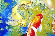 2014 Art, Koi Fish, Koi Fish Painting, Koi Painting, Oil Painting, Fine Art Print, Wall Decor, Home Decor, Colorful Painting
