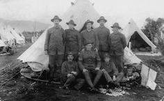 Sharing Soldiers standing by tent, Featherston Camp, June at Upper Hutt City Library World War One, First World, School Kit, City Library, Brothers In Arms, Anzac Day, Lest We Forget, Military History, Tent Camping