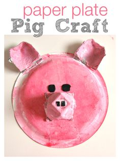PIG! The perfect pink pig made from a paper plate. Great color mixing included in this paper plate pig craft.