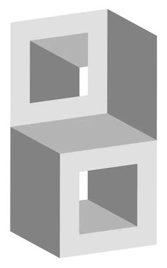 Impossible Stacked Cubes Optical Illusion