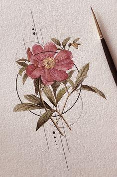 Art Floral, Art Paintings, Watercolor Paintings, Flower Watercolor, Watercolor Tattoos, Watercolor Ideas, Abstract Watercolor, Watercolour Drawings, Art Aquarelle