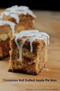 Cinnamon Roll Stuffed Apple Pie Bars.