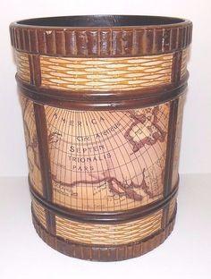 "Decorative Wooden & Vinyl Map Overlay Trash Can Umbrella Holder, 12"" Tall x 9"" #Unbranded"