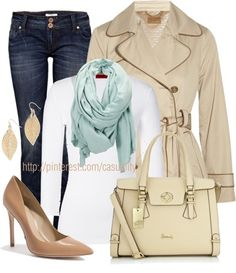 """""""Neutrals & Blue Scarf"""" by casuality on Polyvore"""