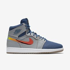 save off 8e05a b7463 Air Jordan Retro 1 High Wolf Grey French Blues sneaker Mens high top shoe  Lace up
