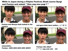 """Fumiya with his younger brother Shunya. When in Japan during a Filipino Festival, Direk Lauren Dyogi met Fumiya Sankai of and asked """" Sino mas pogi ?"""" Watch the video from the link below. Yaki Soba, Surprise Visit, Good Smile, Filipino, The Dreamers, Brother, Handsome, Japan, Watch"""