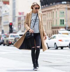 Dasha Gold - River Island Camel Coat, Nick Campbell Sunglasses, Converse Shoes - La Mode Paris | LOOKBOOK