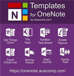 Medley of free templates for MS OneNote. The Vault KanBan Task Board Estate Planner Moving House Diary / Journal Family Tree and Get Things Done. Microsoft Office, One Note Microsoft, Microsoft Excel, Microsoft Classroom, Onenote Template, Planner Template, Notes Template, Printable Templates, Templates Free