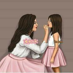 Cool mom,pretty daughter,they are both fashionistas! O machez pe fata mea😁😁 Girly M, Mother And Daughter Drawing, Mother Art, Sarra Art, Beautiful Girl Drawing, Best Friend Drawings, Girly Drawings, Draw On Photos, Digital Art Girl