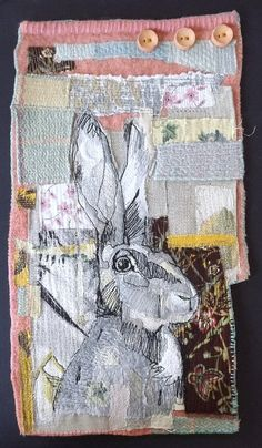 Autumn Hare has been lovingly stitched using vintage fabrics, blanket pieces and buttons. The hare has been appliqued using scraps of linen and