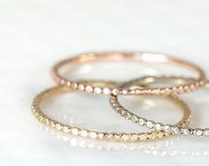 Bead Ring, Thin Gold Ring, 14k Gold Stacking Ring