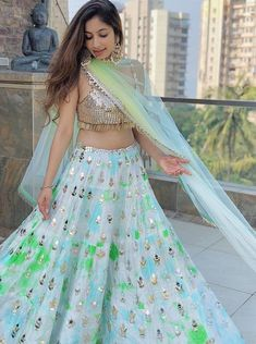 30 Glimmering Mirror Work Lehengas that will Satisfy your Blingy Soul! Lehenga Saree Design, Lehenga Designs, Lehenga Kurta, Kurti, Mehendi Outfits, Indian Bridal Outfits, Designer Party Wear Dresses, Indian Designer Outfits, Indian Attire