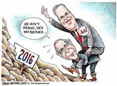 Dave Granlund cartoon on George W. Bush helping #Jeb Bush's campaign. Download at: http:bit.lyMCN_Cartoon #4morecontentnow