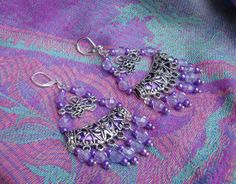 Tibetan Silver  Elegant Flashy Exotic Hippy Gypsy  Bohemian Filigree Chandelier Dangle Earrings  with BLING Shades of Purple Lavender LIlac