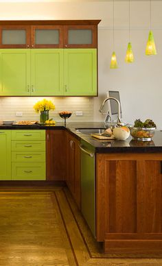 #Green #Kitchen with #Contemporary, #Craftsman Style - Dura Supreme #Cabinetry