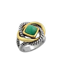 This Turquoise & Gold Twist Statement Ring is perfect! #zulilyfinds