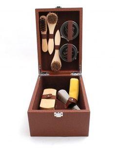 Saphir mahogany shoe care kit.