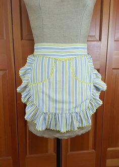 Vintage Childs Apron, Half Apron, White, Yellow and Gray, Ruffled Hem, Yellow…