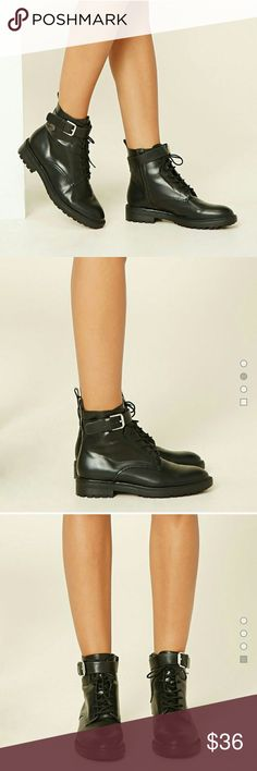 Forever 21 Black Lace Up Boots New!!! Tags have been taken off but they have never been worn. Forever 21 Shoes Lace Up Boots