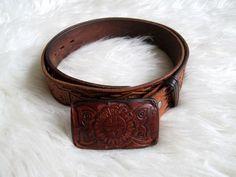 Vintage Tooled Leather Thunderbird Belt with Butterfly Tooled Belt Buckle by FreshtoDeathVintage on Etsy