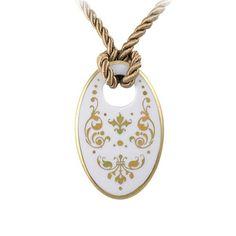 Barokk fehér-arany finomporcelán ovál nyaklánc Washer Necklace, Gold Necklace, Jewelry, Fashion, Gold Pendant Necklace, Jewlery, Moda, Jewels, La Mode