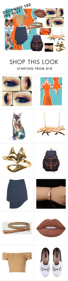 """""""What Does The Fox Say?"""" by mocking-birdie on Polyvore featuring Sterling Forever, Opening Ceremony, Gucci, Lime Crime, Alice + Olivia, Karl Lagerfeld, feelinmyself and whatdoesthefoxsay"""
