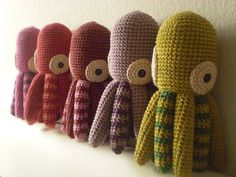 Free octopus crochet pattern | These are to dang cute. Think I'ma try making a few.