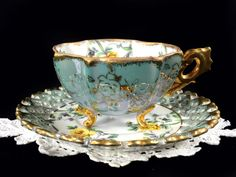 Demitasse 3 Footed Tea Cup, Japanese Yellow Rose Demi Teacup and Reticulated Saucer