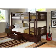 Get the most out of your space with our twin over twin modern bunk beds in a dark cappuccino finish. This bunk bed features solid pinewood construction with optional under-bed storage drawers or a twi Bunk Beds With Storage, Bunk Bed With Trundle, Bunk Beds With Stairs, Cool Bunk Beds, Twin Bunk Beds, Kids Bunk Beds, Bed Storage, Storage Drawers, Twin Twin