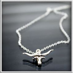 Longhorn steer head in necklace.