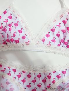 This flamingo print is so novel and fun. By Cheek Frills.