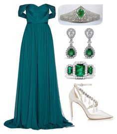 """""""Без названия #3758"""" by claire-hamilton-bristol ❤ liked on Polyvore featuring Marchesa, Jimmy Choo and Effy Jewelry"""