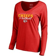 Kansas City Chiefs NFL Pro Line by Fanatics Branded Women s Iconic  Collection Script Assist Long Sleeve V-Neck T-Shirt - Red 707ec5d60