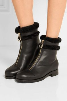 Heel measures approximately 30mm/ 1 inch Black leather and shearling (Lamb) Zip fastening along front Made in ItalySmall to size. See Size & Fit notes.