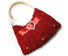 Valentines day Purse  red hand knit