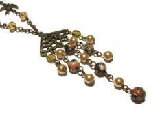 Steampunk Bronze necklace beaded necklace by AutomatedButterfly