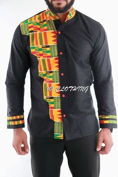 Men shirt with half shaped kente fabric African Shirts Designs, African Shirts For Men, African Clothing For Men, African Print Fashion, African Attire, African Wear, African Dress, Mens Traditional Wear, Gents Kurta