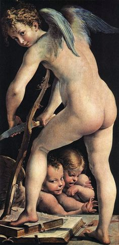 Girolamo Mezzola, Parmegianino - Cupid making a bow. Tags: cupid, eros,
