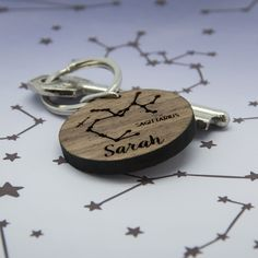 Hey baby, what's your sign? Personalised zodiac laser engraved keyring!
