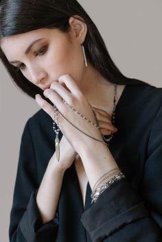 EMMY TRINH JEWELRY LINNEA long sterling silver bar drop earrings