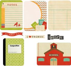 Free Back to School journaling cards collage sheet. via http://www.making-mini-scrapbooks.com