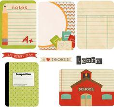 Free Back to School journaling cards collage sheet. via http://www.making-mini-scrapbooks.com